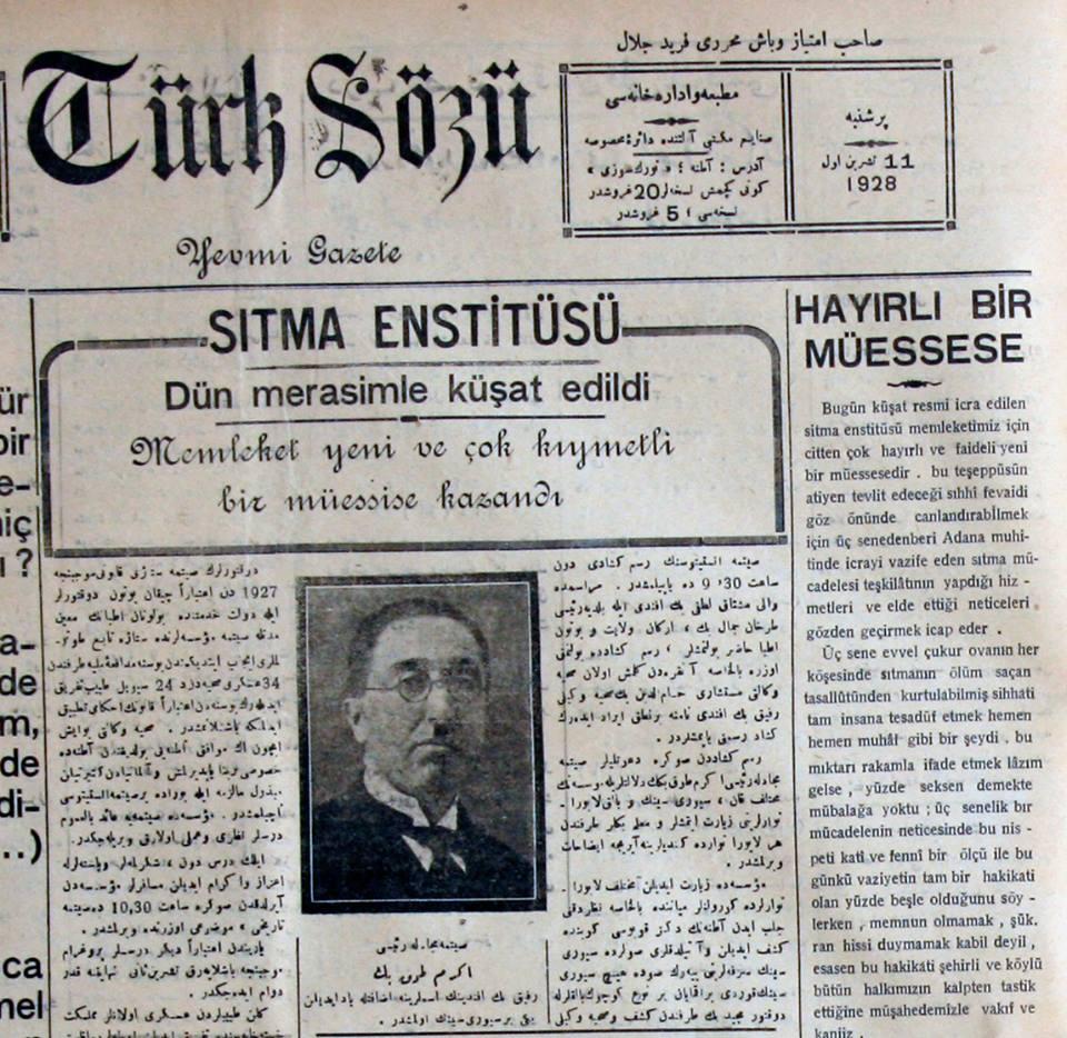 Sıtma Savaş Enstitüsü'nün Türk Sözü Gazetesi'ndeki açılış haberi (1928)