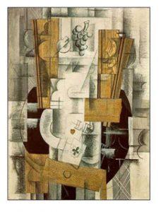 Braque, 'Meyve Tabağı, 'Klübün Ası', 1913, T.Ü.Y.B.,Guaj, Füzen, 81 x 60 cm. Musée National d'Art Moderne / Paris - Fransa
